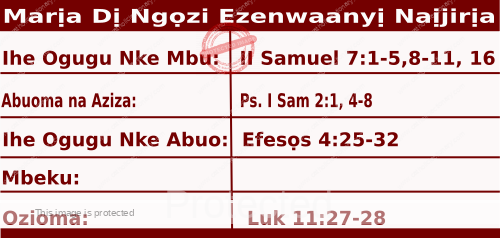 Igbo Mass Readings October 1, 2020, Marịa Dị Ngọzi Ezenwaanyị Naịjirịa