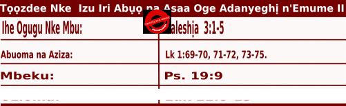 Igbo Mass Readings October 8 2020, Tọọzdee Nke  Izu Iri Abụọ na Asaa Oge Adanyeghị n'Emume.
