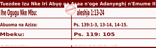 Igbo Mass Readings October 6 2020 Tuezde Izu Nke Iri Abụọ na Asaa n'oge Adanyeghị n'Emume.