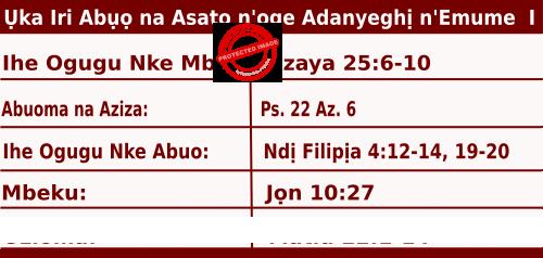 Igbo Mass Readings October 11, 2020, Ụka Iri Abụọ na Asatọ n'oge Adanyeghị n'Emume.