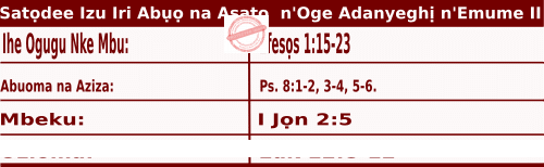 Igbo Mass Readings October 17 2020, Satọdee Izu Iri Abụọ na Asatọ n'Oge Adanyeghị n'Emume.