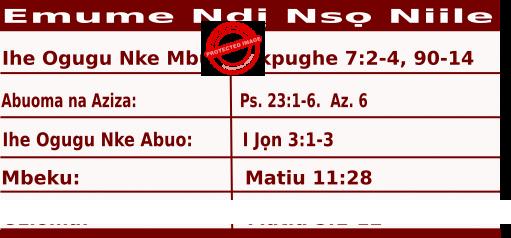 Igbo Mass Readings November 1 2020 Emume Ndị Nsọ Niile.