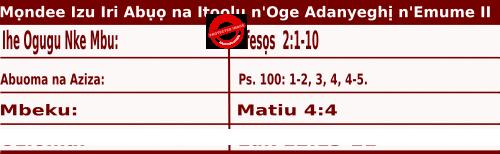 Igbo Mass Readings October 19 2020, Mọndee Izu Iri Abụọ na Itoolu n'Oge Adanyeghị n'Emume.