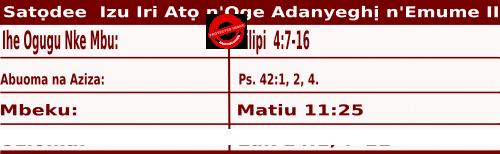 Igbo Mass Readings October 31 2020, Satọdee Izu Iri Atọ n'Oge Adanyeghị n'Emume.