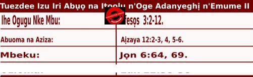 Igbo Mass Readings October 20 2020, Tuezdee Izu Iri Abụọ na Itoolu n'Oge Adanyeghị n'Emume.