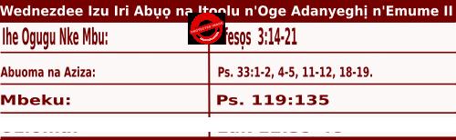 Igbo Mass Readings October 21 2020, Wednezdee Izu Iri Abụọ na Itoolu n'Oge Adanyeghị n'Emume.