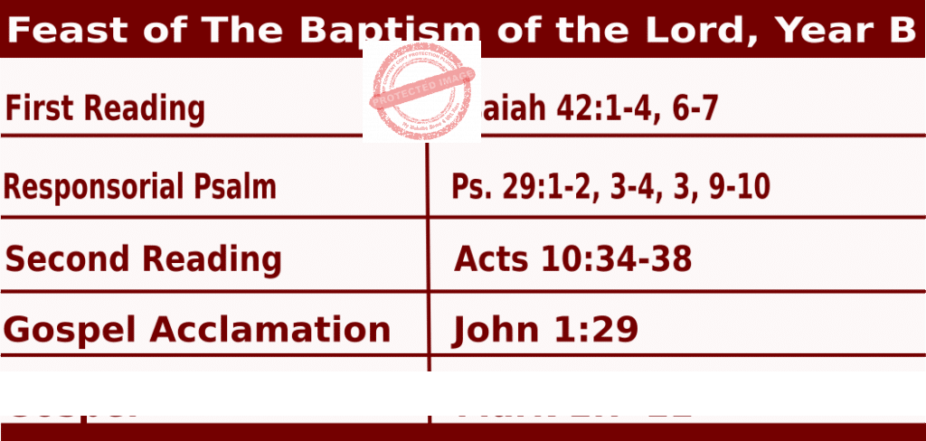 Mass Readings January 10 2021, Feast of The Baptism of the Lord, Year B.