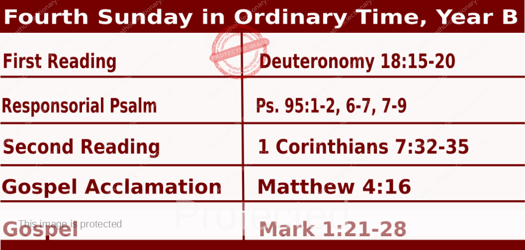 Mass Readings January 31 2021, Fourth Sunday in Ordinary Time, Year B.