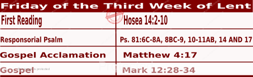 Mass Readings March 12 2021, Friday of the Third Week of Lent.