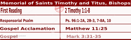 Mass Readings January 26 2021, Memorial of Saints Timothy and Titus, Bishops.