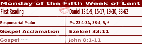 Mass Readings March 22 2021, Monday of the Fifth Week of Lent.