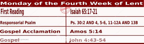 Mass Readings March 15 2021, Monday of the Fourth Week of Lent.