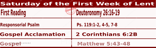 Mass Readings February 27 2021, Saturday of the First Week of Lent.