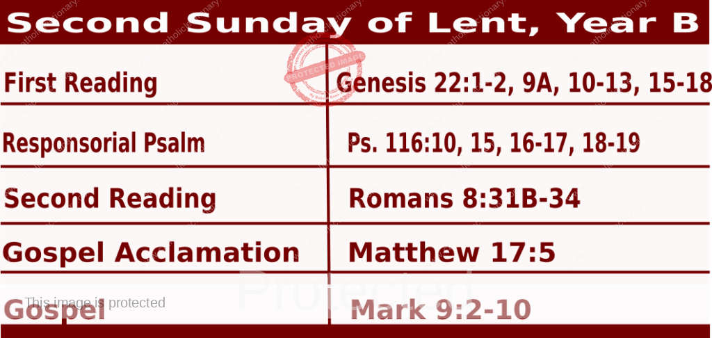 Mass Readings February 28 2021, Second Sunday of Lent, Year B.
