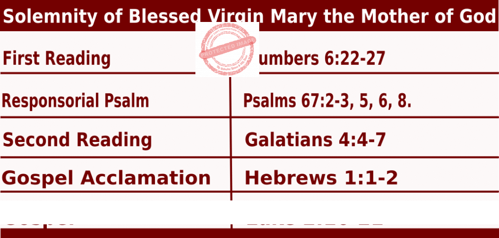 Bible quotations for Mass Readings for January 1 2022,  Solemnity of the Blessed Virgin Mary, the Mother of God