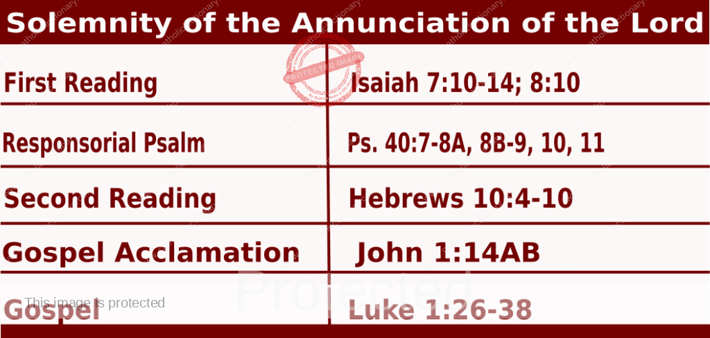 Mass Readings March 25 2021, Solemnity of the Annunciation of the Lord.