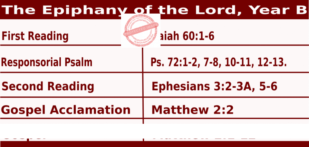 Mass Readings January 3 2021, The Epiphany of the Lord.