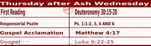 Mass Readings February 18 2021, Thursday after Ash Wednesday.