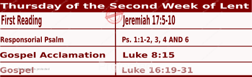 Mass Readings March 4 2021, Thursday of the Second Week of Lent.