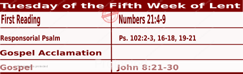 Mass Readings March 23 2021, Tuesday of the Fifth Week of Lent.