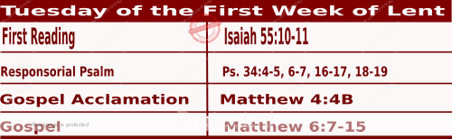 Mass Readings February 23 2021, Tuesday of the First Week of Lent.