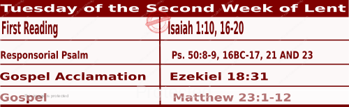 Mass Readings March 2 2021, Tuesday of the Second Week of Lent.