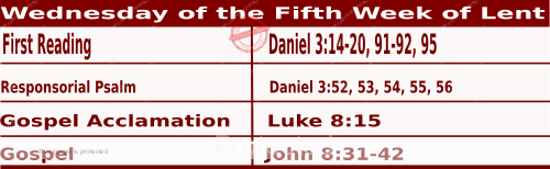 Mass Readings March 24 2021, Wednesday of the Fifth Week of Lent.
