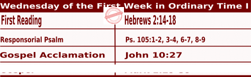 Mass Readings January 13 2021, Wednesday of the First Week in Ordinary Time Year (I)