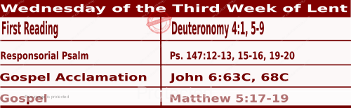Mass Readings March 10 2021, Wednesday of the Third Week of Lent.