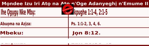 Igbo Mass Readings November 16 2020, Mọndee Izu Iri Atọ na Atọ n'Oge Adanyeghị n'Emume.