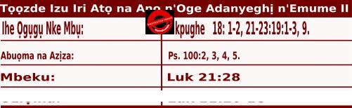 Igbo Mass Readings November 26 2020, Tọọzde nke Izu Ụka Iri Atọ na Anọ n'oge Adanyeghị n'Emume.
