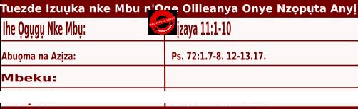 Igbo Mass Readings December 1 2020, Tuezde Izuụka nke Mbu n'Oge Olileanya Onye Nzọpụta Anyị.