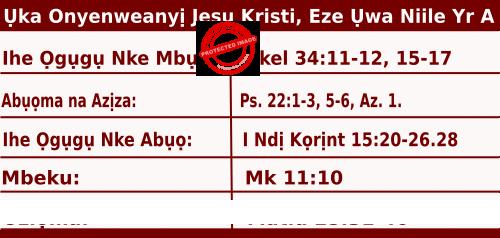 Igbo Mass Readings November 22 2020, Ụka Onyenweanyị Jesu Kristi, Eze Ụwa Niile.