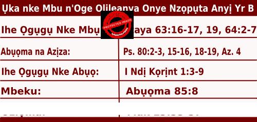 Igbo Mass Readings November 29 2020, Ụka nke Mbu n'Oge Olileanya Onye Nzọpụta Anyị - Afọ Nke Abụọ.