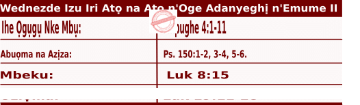 Igbo Mass Readings November 18 2020, Wednezdee Izu Iri Atọ na Atọ n'Oge Adanyeghị n'Emume.
