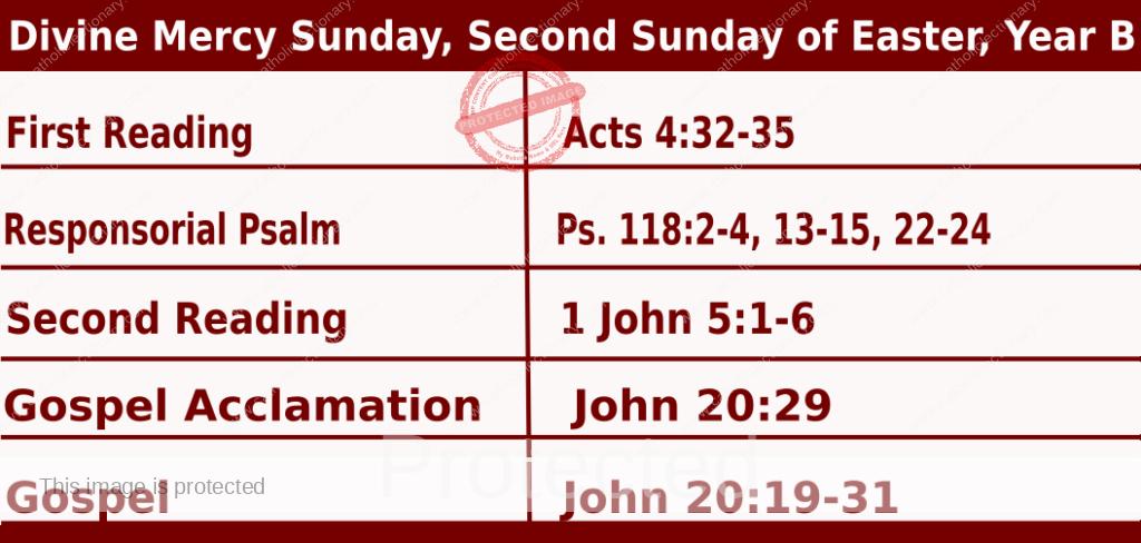 Catholic Sunday Mass Readings for April 11 2021, Divine Mercy Sunday, Second Sunday of Easter, Year B