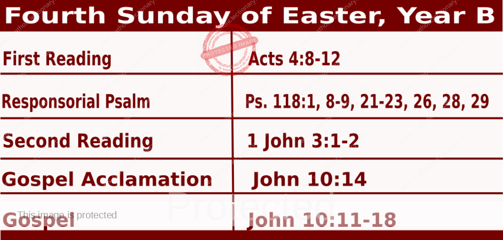 Mass Readings for April 25 2021:  Fourth Sunday of Easter, Year B