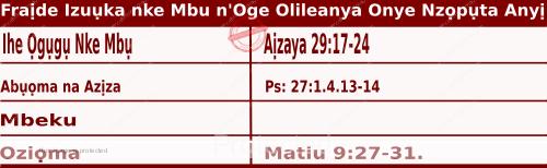 Igbo Mass Readings December 4 2020, Fraịde Izuụka nke Mbu n'Oge Olileanya Onye Nzọpụta Anyị.