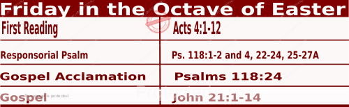 Catholic Daily Mass Readings for April 9 2021, Friday in the Octave of Easter.