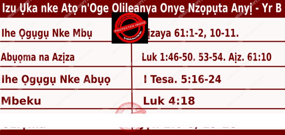 Igbo Mass Readings December 13 2020, Izu Ụka nke Atọ n'Oge Olileanya Onye Nzọpụta Anyị.