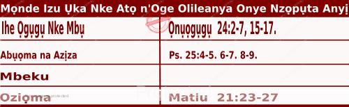 Igbo Mass Readings December 14 2020, Mọnde Izu Ụka Nke Atọ n'Oge Olileanya Onye Nzọpụta Anyị.