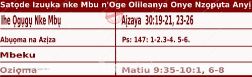 Igbo Mass Readings December 5 2020, Satọde Izuụka nke Mbu n'Oge Olileanya Onye Nzọpụta Anyị.