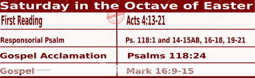 Catholic Daily Mass Readings for April 10 2021, Saturday in the Octave of Easter.