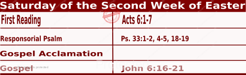 Catholic Daily Mass Readings for April 17 2021, Saturday of the Second Week of Easter.
