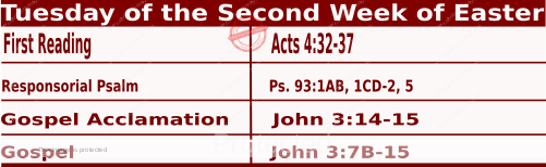 Catholic Daily Mass Readings for April 13 2021, Tuesday of the Second Week of Easter.