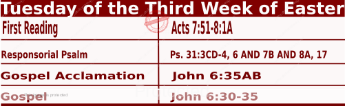 Mass Readings for April 20 2021, Tuesday of the Third Week of Easter.