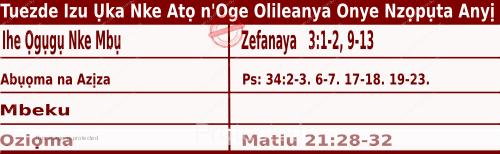 Igbo Mass Readings December 15 2020, Tuezde Izu Ụka Nke Atọ n'Oge Olileanya Onye Nzọpụta Anyị.