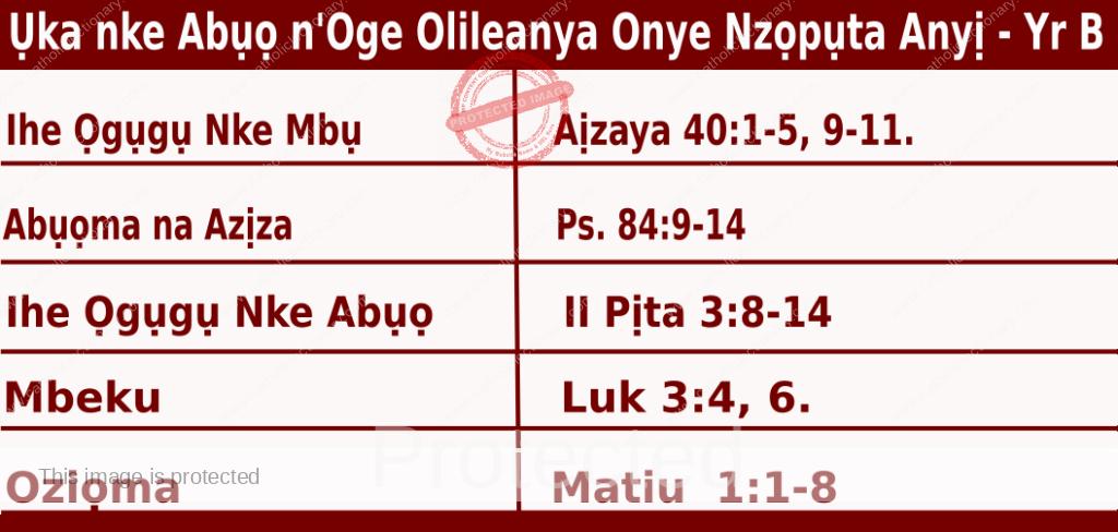 Igbo Mass Readings December 6 2020, Ụka nke Abụọ n'Oge Olileanya Onye Nzọpụta Anyị.