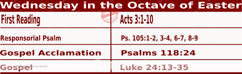 Catholic Daily Mass Readings for April 7 2021, Wednesday in the Octave of Easter.