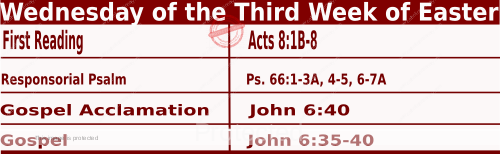 Catholic Daily Mass Readings for April 21 2021, Wednesday of the Third Week of Easter.